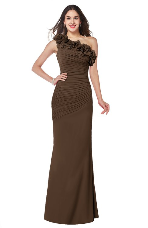 ColsBM Lisa Chocolate Brown Sexy Fit-n-Flare Sleeveless Half Backless Chiffon Flower Plus Size Bridesmaid Dresses
