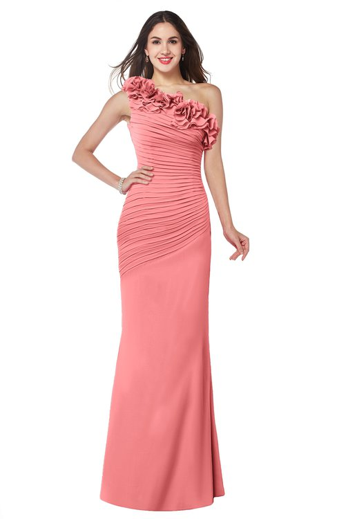 ColsBM Lisa Coral Sexy Fit-n-Flare Sleeveless Half Backless Chiffon Flower Plus Size Bridesmaid Dresses