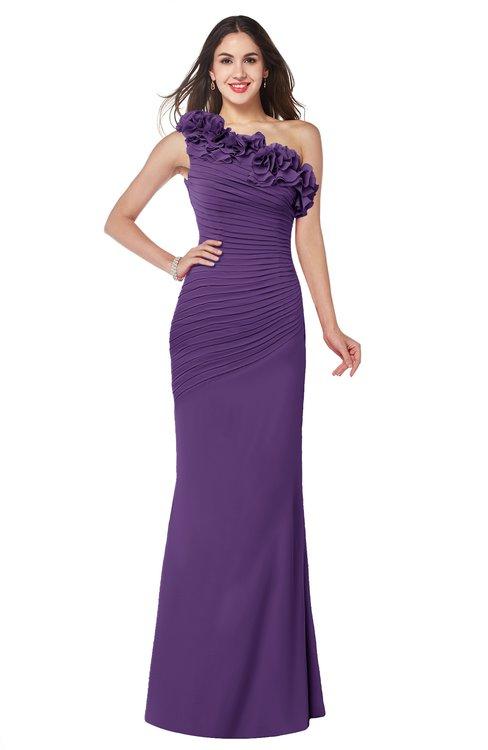 ColsBM Lisa Dark Purple Sexy Fit-n-Flare Sleeveless Half Backless Chiffon Flower Plus Size Bridesmaid Dresses