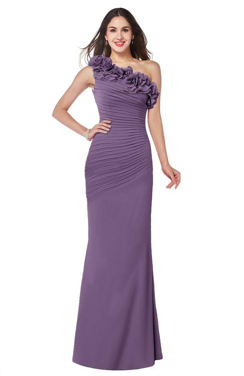 ColsBM Lisa Eggplant Sexy Fit-n-Flare Sleeveless Half Backless Chiffon Flower Plus Size Bridesmaid Dresses