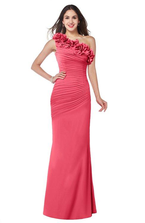 ColsBM Lisa Guava Sexy Fit-n-Flare Sleeveless Half Backless Chiffon Flower Plus Size Bridesmaid Dresses