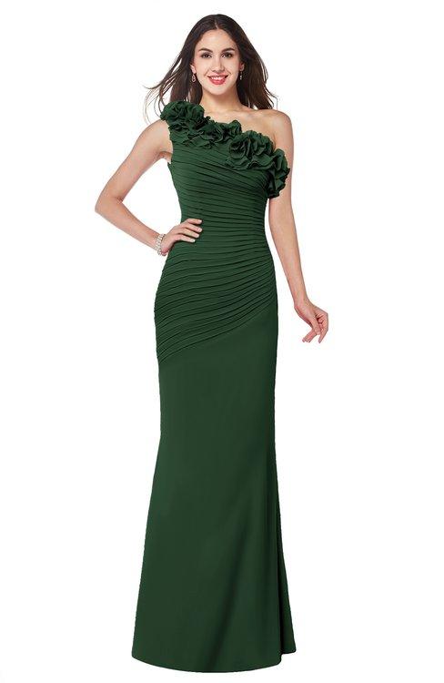 ColsBM Lisa Hunter Green Sexy Fit-n-Flare Sleeveless Half Backless Chiffon Flower Plus Size Bridesmaid Dresses