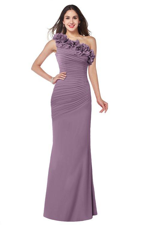 ColsBM Lisa Mauve Sexy Fit-n-Flare Sleeveless Half Backless Chiffon Flower Plus Size Bridesmaid Dresses