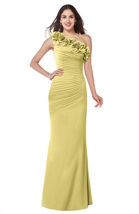 ColsBM Lisa Misted Yellow Sexy Fit-n-Flare Sleeveless Half Backless Chiffon Flower Plus Size Bridesmaid Dresses