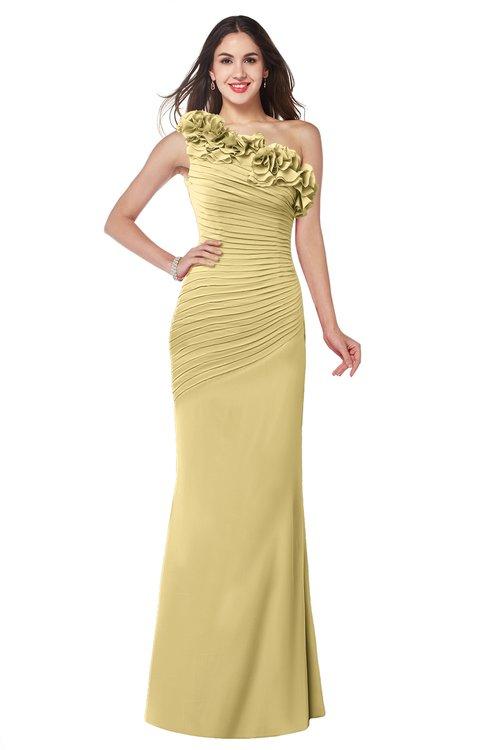 ColsBM Lisa New Wheat Sexy Fit-n-Flare Sleeveless Half Backless Chiffon Flower Plus Size Bridesmaid Dresses