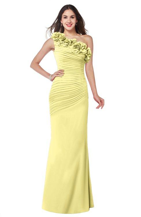 ColsBM Lisa Pastel Yellow Sexy Fit-n-Flare Sleeveless Half Backless Chiffon Flower Plus Size Bridesmaid Dresses