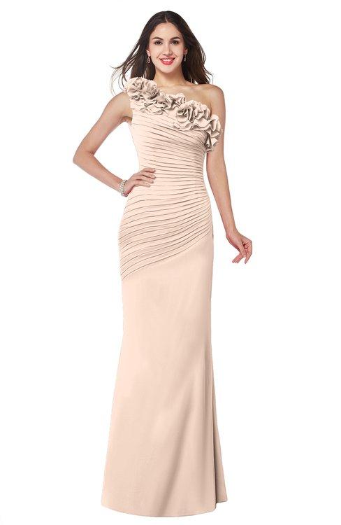 ColsBM Lisa Peach Puree Sexy Fit-n-Flare Sleeveless Half Backless Chiffon Flower Plus Size Bridesmaid Dresses