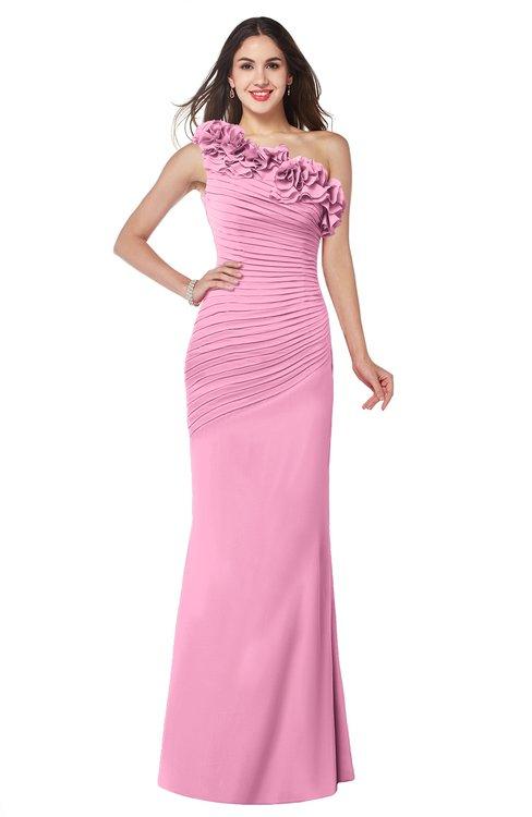 ColsBM Lisa Pink Sexy Fit-n-Flare Sleeveless Half Backless Chiffon Flower Plus Size Bridesmaid Dresses