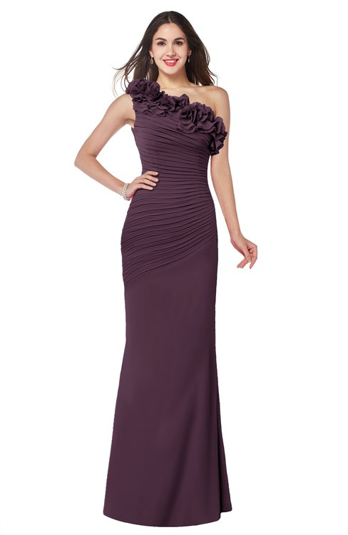 ColsBM Lisa Plum Sexy Fit-n-Flare Sleeveless Half Backless Chiffon Flower Plus Size Bridesmaid Dresses
