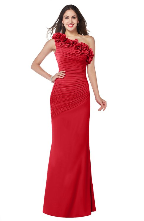 ColsBM Lisa Red Sexy Fit-n-Flare Sleeveless Half Backless Chiffon Flower Plus Size Bridesmaid Dresses