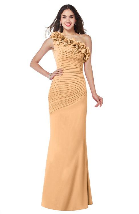 ColsBM Lisa Salmon Buff Sexy Fit-n-Flare Sleeveless Half Backless Chiffon Flower Plus Size Bridesmaid Dresses