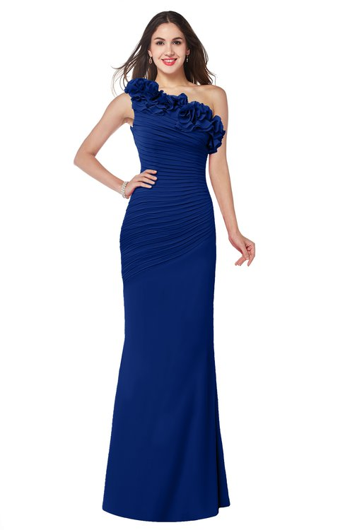 ColsBM Lisa Sodalite Blue Sexy Fit-n-Flare Sleeveless Half Backless Chiffon Flower Plus Size Bridesmaid Dresses