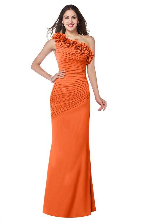 ColsBM Lisa Tangerine Sexy Fit-n-Flare Sleeveless Half Backless Chiffon Flower Plus Size Bridesmaid Dresses