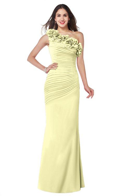 ColsBM Lisa Wax Yellow Sexy Fit-n-Flare Sleeveless Half Backless Chiffon Flower Plus Size Bridesmaid Dresses