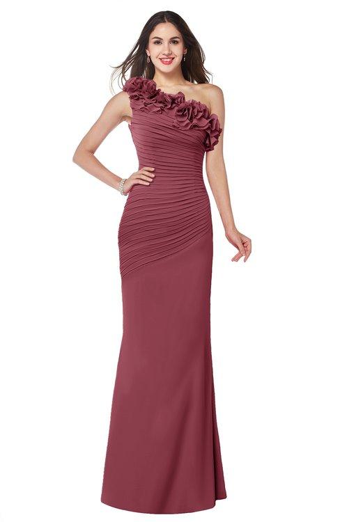 ColsBM Lisa Wine Sexy Fit-n-Flare Sleeveless Half Backless Chiffon Flower Plus Size Bridesmaid Dresses