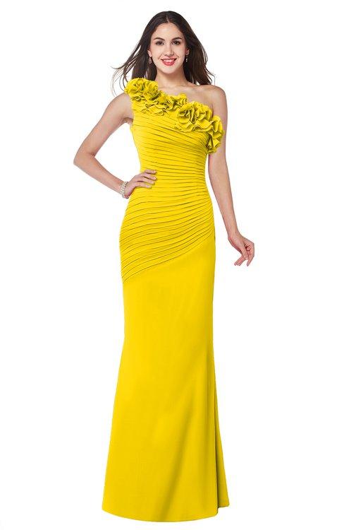 ColsBM Lisa Yellow Sexy Fit-n-Flare Sleeveless Half Backless Chiffon Flower Plus Size Bridesmaid Dresses
