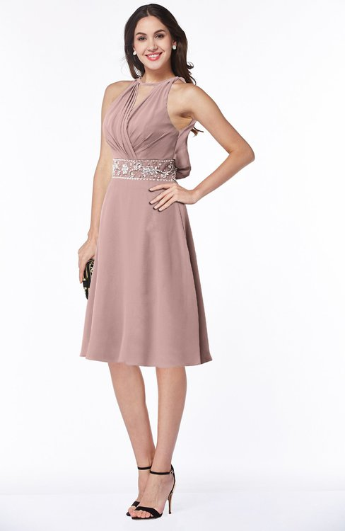 ColsBM Angelica Blush Pink Classic Lace up Chiffon Knee Length Beaded Plus Size Bridesmaid Dresses