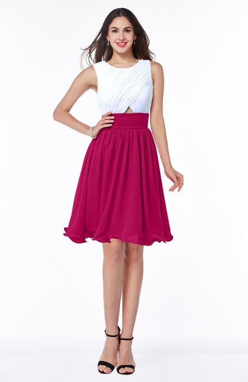 ColsBM Hallie Beetroot Purple Cute A-line Jewel Zipper Chiffon Plus Size Bridesmaid Dresses