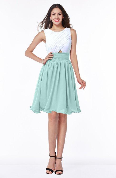 ColsBM Hallie Blue Glass Cute A-line Jewel Zipper Chiffon Plus Size Bridesmaid Dresses