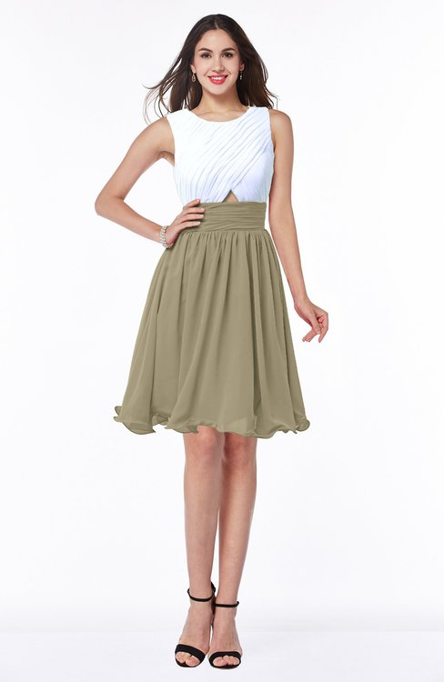 ColsBM Hallie Candied Ginger Cute A-line Jewel Zipper Chiffon Plus Size Bridesmaid Dresses