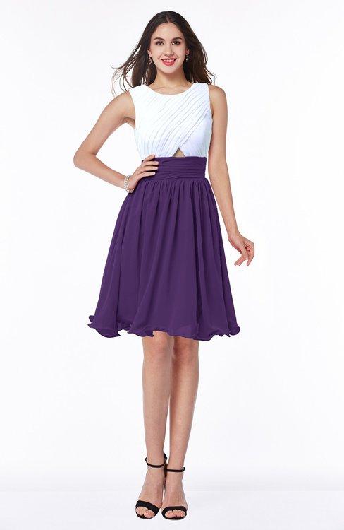 ColsBM Hallie Dark Purple Cute A-line Jewel Zipper Chiffon Plus Size Bridesmaid Dresses