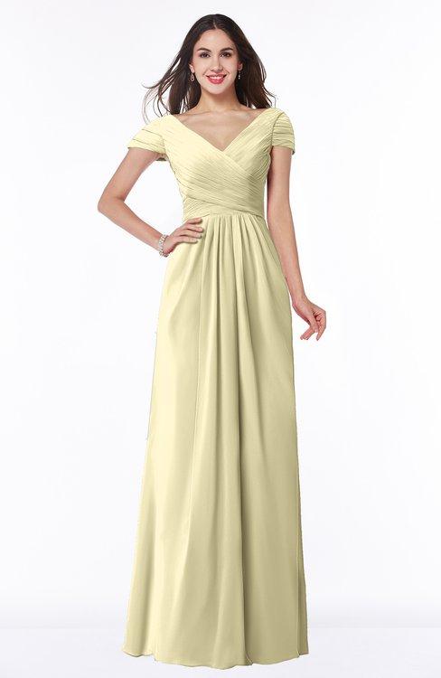 ColsBM Evie Anise Flower Glamorous A-line Short Sleeve Floor Length Ruching Plus Size Bridesmaid Dresses