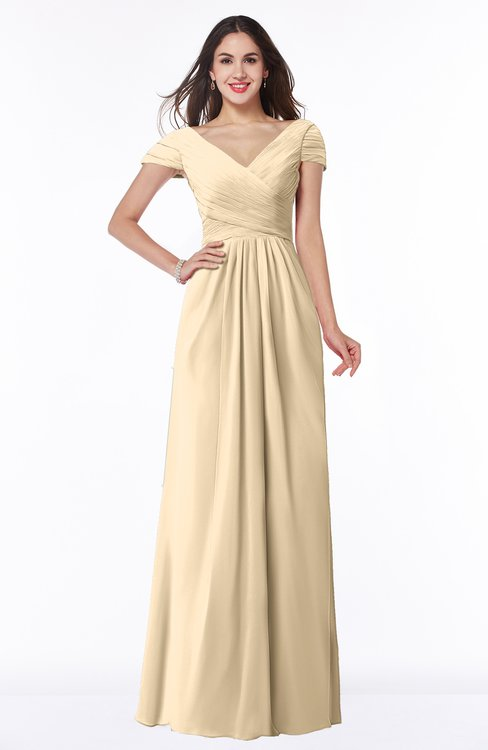 ColsBM Evie Apricot Gelato Glamorous A-line Short Sleeve Floor Length Ruching Plus Size Bridesmaid Dresses