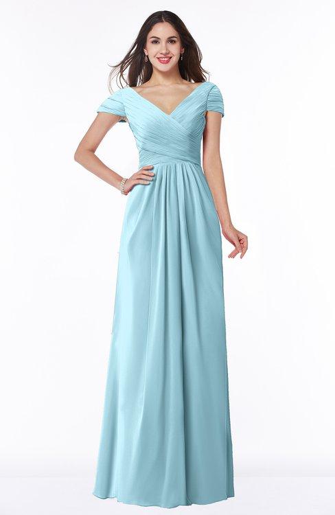 ColsBM Evie Aqua Glamorous A-line Short Sleeve Floor Length Ruching Plus Size Bridesmaid Dresses