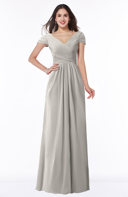ColsBM Evie Ashes Of Roses Glamorous A-line Short Sleeve Floor Length Ruching Plus Size Bridesmaid Dresses