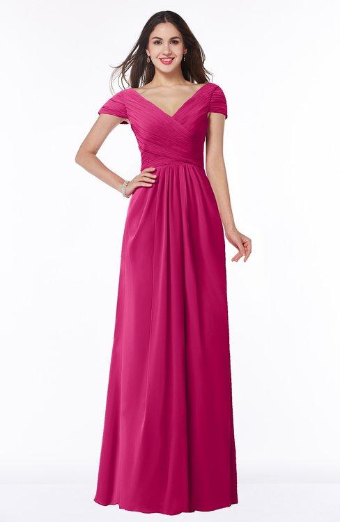 ColsBM Evie Beetroot Purple Glamorous A-line Short Sleeve Floor Length Ruching Plus Size Bridesmaid Dresses