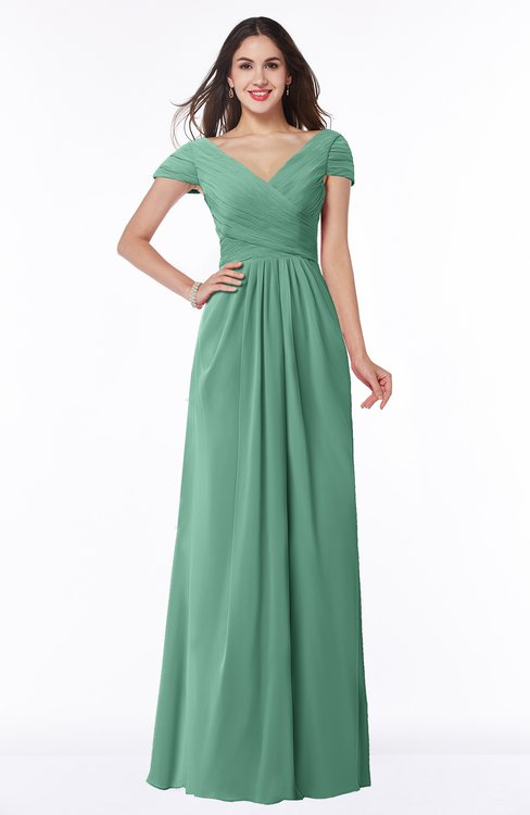 ColsBM Evie Beryl Green Glamorous A-line Short Sleeve Floor Length Ruching Plus Size Bridesmaid Dresses