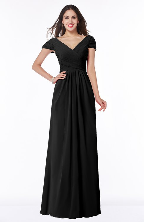ColsBM Evie Black Glamorous A-line Short Sleeve Floor Length Ruching Plus Size Bridesmaid Dresses