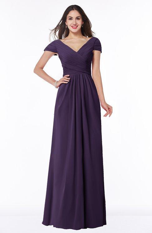 ColsBM Evie Blackberry Cordial Glamorous A-line Short Sleeve Floor Length Ruching Plus Size Bridesmaid Dresses