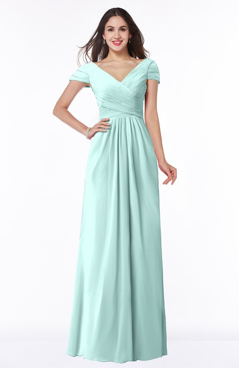 ColsBM Evie Blue Glass Glamorous A-line Short Sleeve Floor Length Ruching Plus Size Bridesmaid Dresses