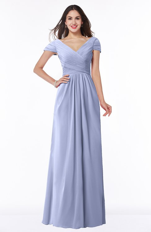 ColsBM Evie Blue Heron Glamorous A-line Short Sleeve Floor Length Ruching Plus Size Bridesmaid Dresses