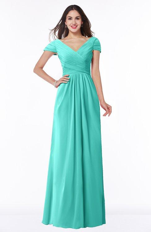 ColsBM Evie Blue Turquoise Glamorous A-line Short Sleeve Floor Length Ruching Plus Size Bridesmaid Dresses