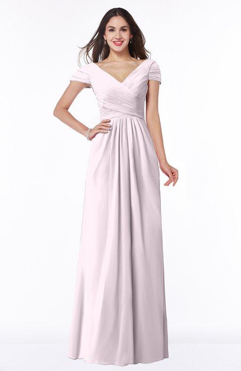 ColsBM Evie Blush Glamorous A-line Short Sleeve Floor Length Ruching Plus Size Bridesmaid Dresses