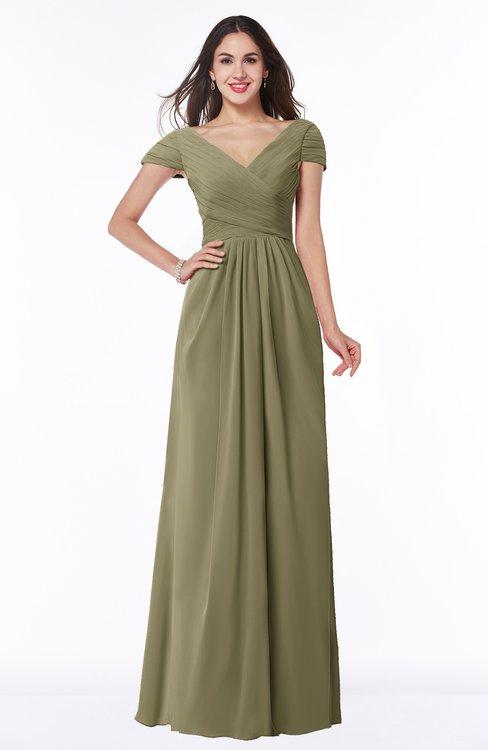 ColsBM Evie Boa Glamorous A-line Short Sleeve Floor Length Ruching Plus Size Bridesmaid Dresses
