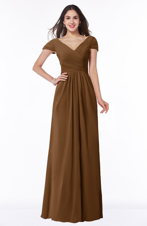 ColsBM Evie Brown Glamorous A-line Short Sleeve Floor Length Ruching Plus Size Bridesmaid Dresses