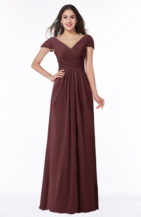 ColsBM Evie Burgundy Glamorous A-line Short Sleeve Floor Length Ruching Plus Size Bridesmaid Dresses