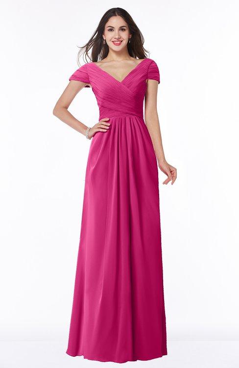 ColsBM Evie Cabaret Glamorous A-line Short Sleeve Floor Length Ruching Plus Size Bridesmaid Dresses