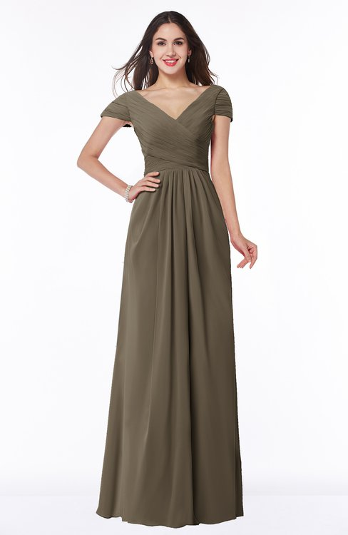 ColsBM Evie Carafe Brown Glamorous A-line Short Sleeve Floor Length Ruching Plus Size Bridesmaid Dresses