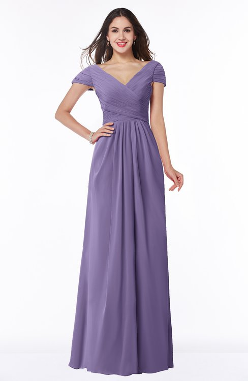 ColsBM Evie Chalk Violet Glamorous A-line Short Sleeve Floor Length Ruching Plus Size Bridesmaid Dresses