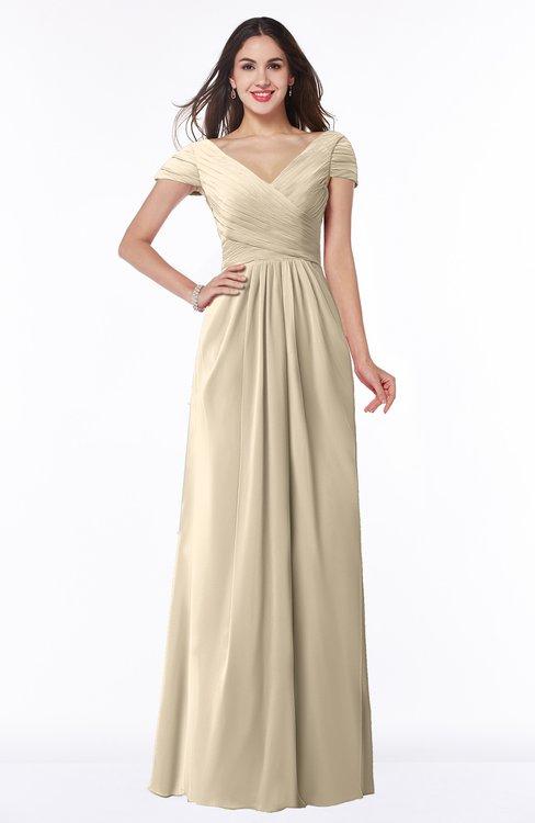 ColsBM Evie Champagne Glamorous A-line Short Sleeve Floor Length Ruching Plus Size Bridesmaid Dresses