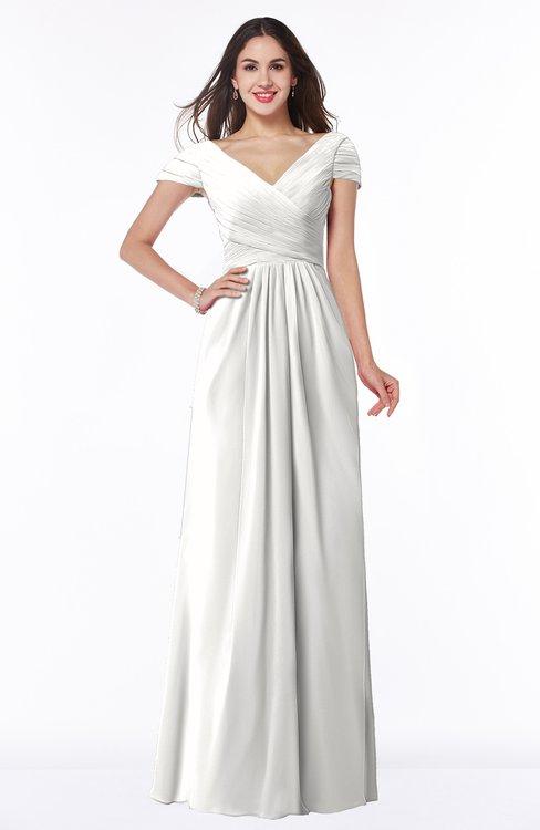 ColsBM Evie Cloud White Glamorous A-line Short Sleeve Floor Length Ruching Plus Size Bridesmaid Dresses