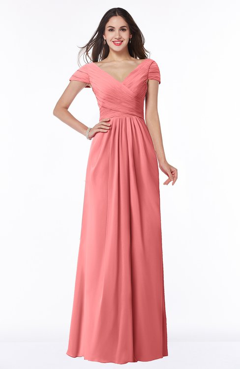 ColsBM Evie Coral Glamorous A-line Short Sleeve Floor Length Ruching Plus Size Bridesmaid Dresses