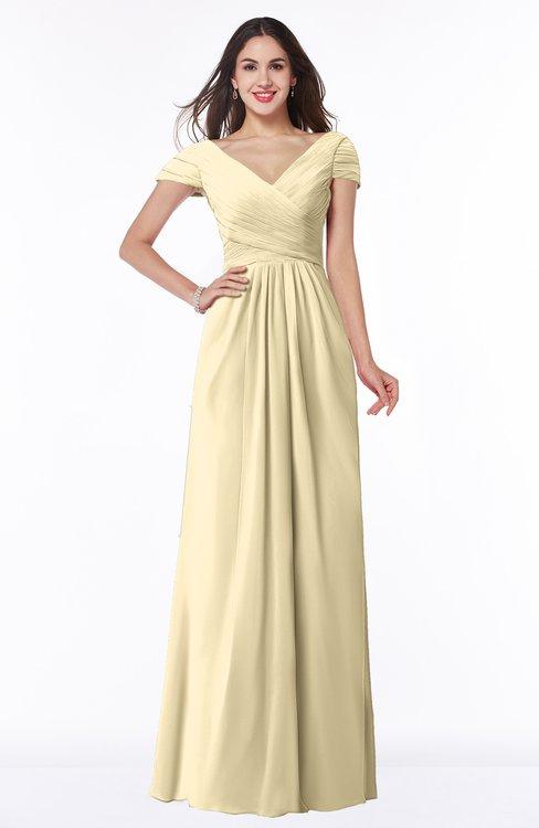 ColsBM Evie Cornhusk Glamorous A-line Short Sleeve Floor Length Ruching Plus Size Bridesmaid Dresses