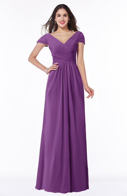 ColsBM Evie Dahlia Glamorous A-line Short Sleeve Floor Length Ruching Plus Size Bridesmaid Dresses