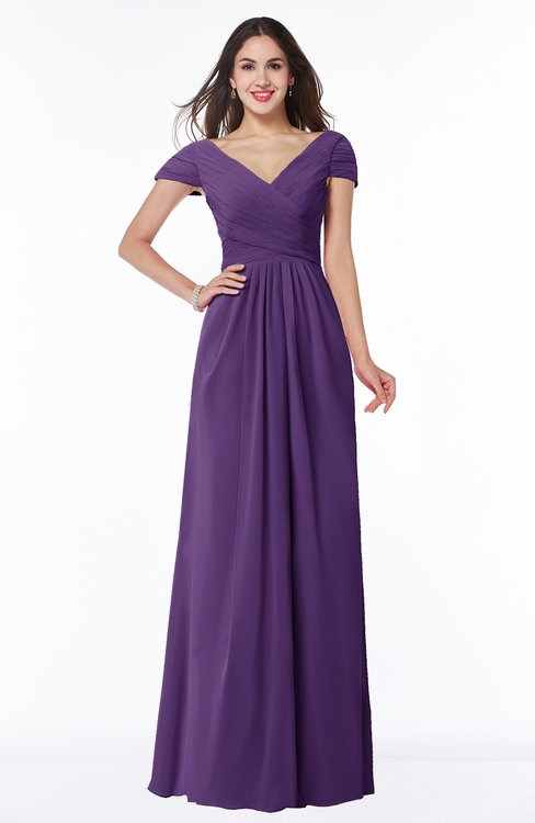 ColsBM Evie Dark Purple Glamorous A-line Short Sleeve Floor Length Ruching Plus Size Bridesmaid Dresses