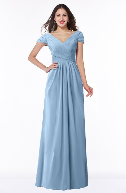ColsBM Evie Dusty Blue Glamorous A-line Short Sleeve Floor Length Ruching Plus Size Bridesmaid Dresses